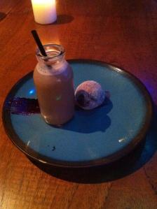 Blind Swine York desert iced coffee and doughnut