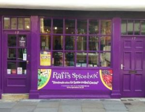 Rafi's Spicebox purple shopfront, York