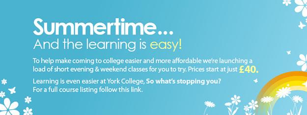York College Summer Classes banner