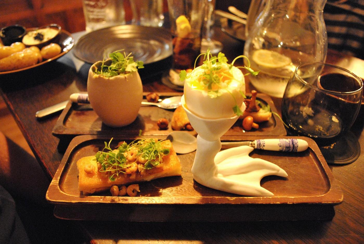 Soft Boiled Duck Egg, Toasted Crab Sandwich, Melting Potted Shrimps