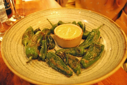 Padron peppers with chipotle mayo