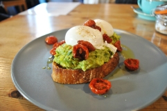 Avocado & Roasted Tomatoes on Toasted Sourdough & Poached Egg